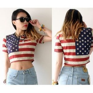 Tops - American Flag Crop Top